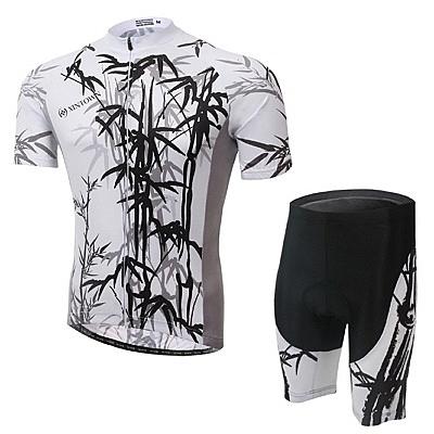 自行車衣-(短袖套裝)-高彈透氣排汗墨竹男單車服套裝2色73er13【時尚巴黎】