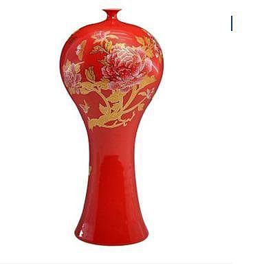陶瓷器 中國紅金牡丹花瓶梅瓶 家居裝飾品新房擺件