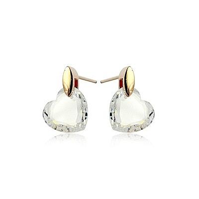 耳環 玫瑰金 925純銀水晶-愛心切面生日情人節禮物女飾品73gs62【時尚巴黎】