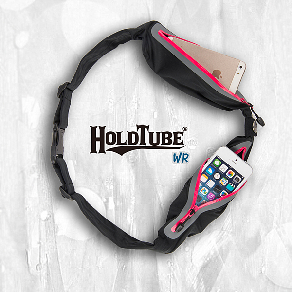 【HOLDTUBE】運動腰帶-防潑水雙口袋-黑粉
