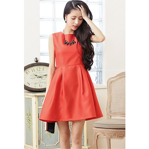 6710-S簡約單色A字下襬修身顯瘦小禮服洋裝~美之札