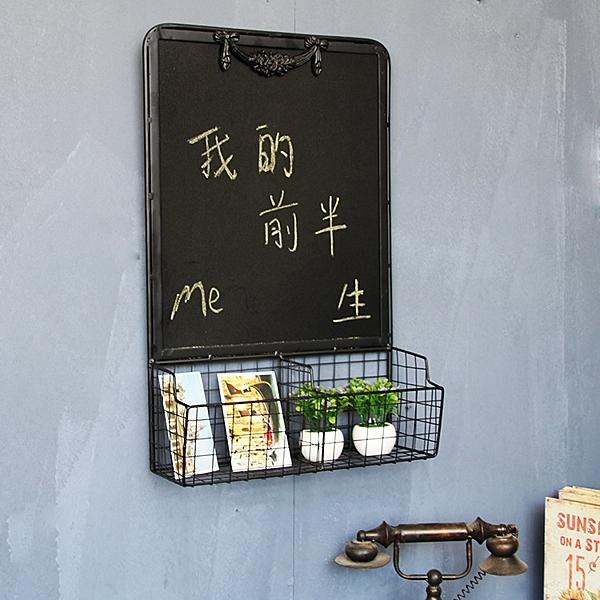 鐵藝多功能歐美風掛式小黑板 家用店鋪創意壁掛裝飾留言板記事板