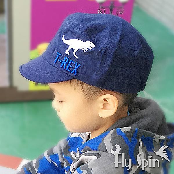 兒童帽-全棉恐龍刺繡休閒平頂軍人帽C-903 FLY SPIN
