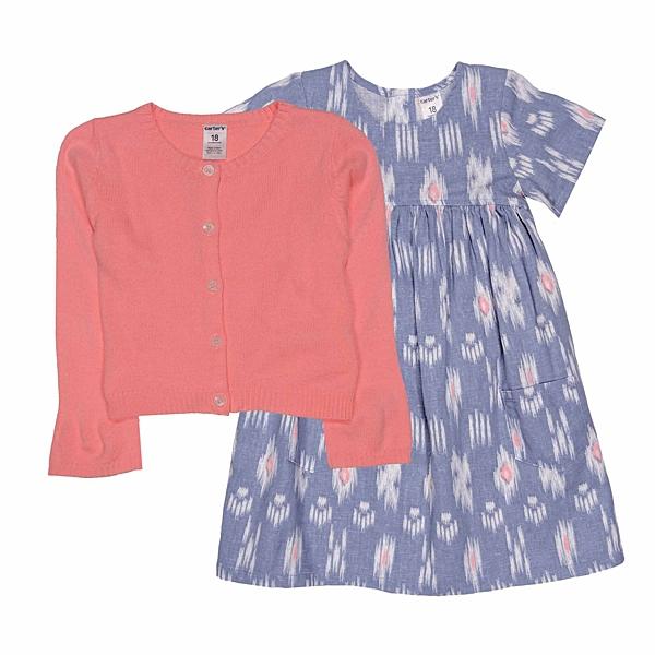 女寶寶洋裝套裝三件組 針織薄外套+短袖裙子+內褲 橘色   Carter s卡特童裝 (嬰幼兒/兒童/小孩)