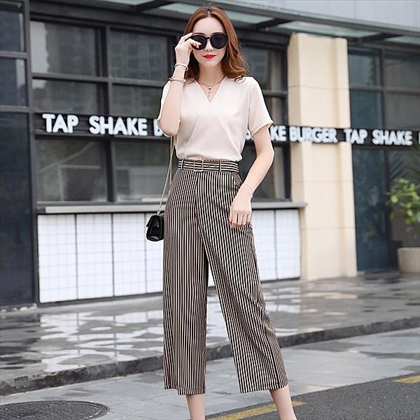 找到自己 G5 韓國時尚 闊腿褲 套裝 夏季 名媛 氣質 條紋 兩件套