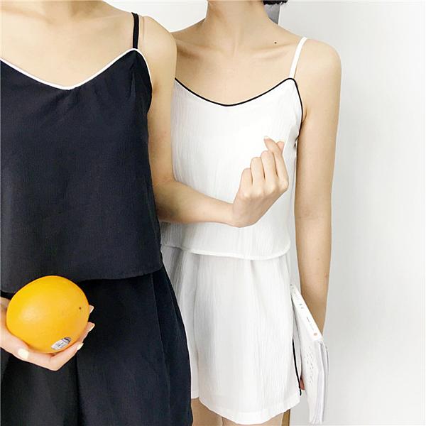 [超豐國際]夏季女裝學院風寬松顯瘦吊帶闊腿連體褲學生休閑褲熱1入