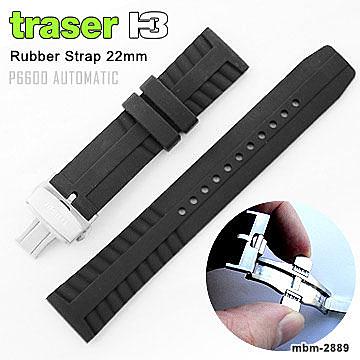 Traser黑色橡膠錶帶P6600適用 壓扣版#105727【AH03099】99愛買生活百貨