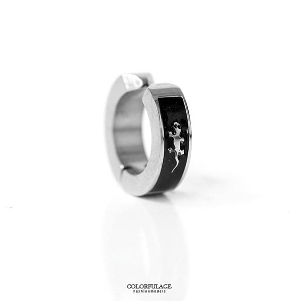 耳環 個性小黑框銀蜥蜴鋼製耳夾ND658