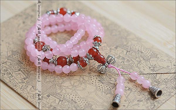 粉玉髓佛珠 手鏈 多層款式 藏銀飾品 招攬愛情 桃花