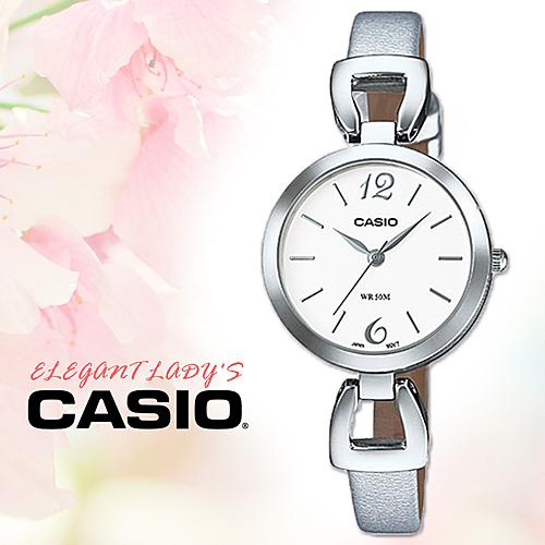 CASIO手錶專賣店 卡西歐 LTP-E402L-7A 銀色女錶 指針錶 皮革錶帶 礦物玻璃鏡面 防水50米