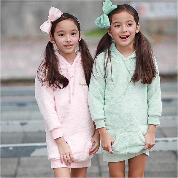 長版上衣 珊瑚絨 長版T 保暖 帽T 女童 女寶 居家服 居家上衣 Augelute 50581