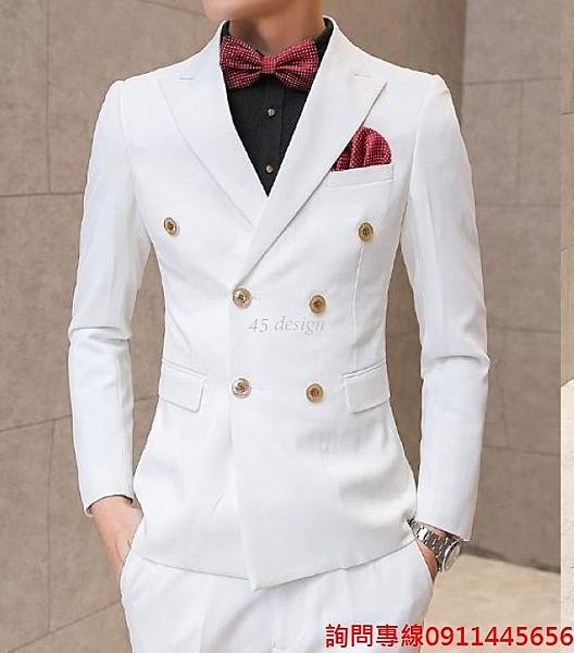 45 Design) 7天到貨 整套西服 西裝 韓   雅痞成套西裝 外套 西服 男套裝伴郎服西服3件套