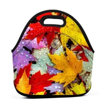カラフルなカエデの葉のランチバッグ、厚手の断熱ランチボックスバッグ、子供用ピクニックオフィス用ジッパークロージャー付きトートボックス