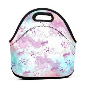 ユニコーンデジタルペーパーランチバッグ、太い絶縁弁当バッグ、キッド旅行ピクニックオフィス用ジッパークロージャー付きトートボックス
