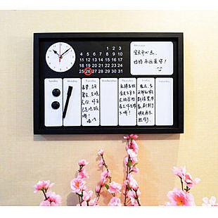 時尚時鐘功能磁性留言板 時鐘橫板 含筆磁吸