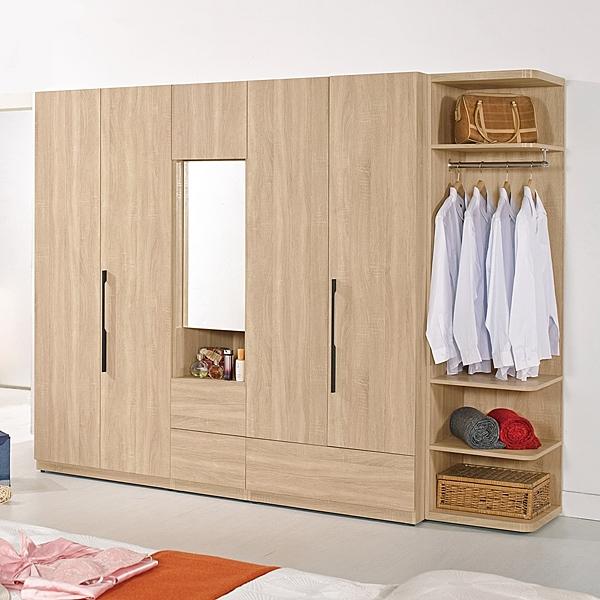 【森可家居】尼爾森8.2尺組合衣櫥 8CM585-1 衣櫃 木紋質感