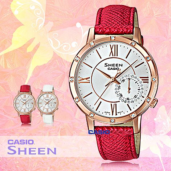 CASIO 卡西歐 手錶專賣店 SHE-3046GLP-7B 女錶 真皮指針錶帶 三眼 防水 全新品 保固一年