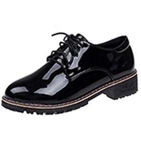 [ブウケ] レディース マニッシュシューズ オックスフォードシューズ エナメル おじ靴 レースアップ ローヒール シューズ 靴 おしゃれ 疲れにくい かわいい 紐靴 24.5cm イギリス風 ブラック 学院風 カジュアル レースアップシューズ ママシューズ パンプス