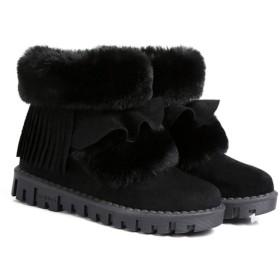 [VALER] ムートンブーツ スノーブーツ レディース シューズ ボア フラット 冬用 暖かい スウェード通気 靴 防寒 軽量 滑り止め 厚底 25.0cm おしゃれ カジュアル ムートンブーツ スノーシューズ くろ