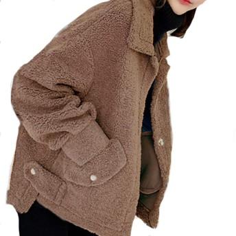Lisa Pulsterラム毛ジャケット女性ショートモデル2019秋冬新型韓国版ゆったり ラム毛 (コーヒー,M)