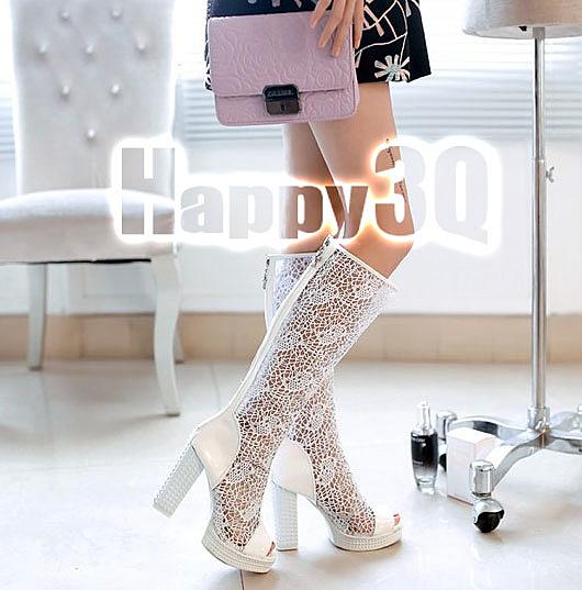 時尚性感蕾絲鏤空魚嘴拉鍊長靴-白/米/黑33-40【AAA0037】預購