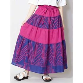 [チャイハネ] 【チャイハネ】アフリカン幾何学柄ティアードスカート IDS-9137 FREE パープル