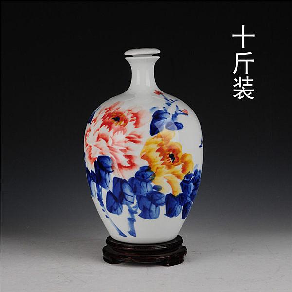 十斤裝青花陶瓷酒瓶   手繪花開富貴