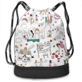 ナップサック幸せ新婚 プールバッグ ジムサック 防水仕様 巾着袋 軽量 スポーツバッグ 通学・運動・旅行に最適 アウトドア 収納バッグ