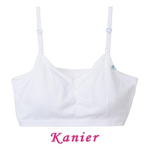 【Kanier卡妮兒】水潤白羅紋細肩 發育期 學生型短胸衣(150/160/165)