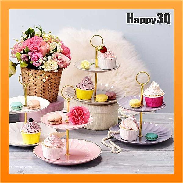雙層點心盤陶瓷亮面烘焙烤蛋糕點心杯子蛋糕廚房波浪金邊麵包店蛋糕店【AAA1936】預購