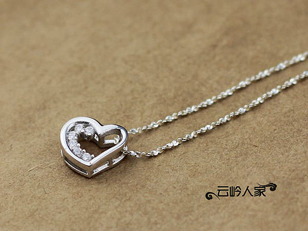 銀飾 女飾品 可愛鑲鑽心形 銀項鏈 銀吊墜