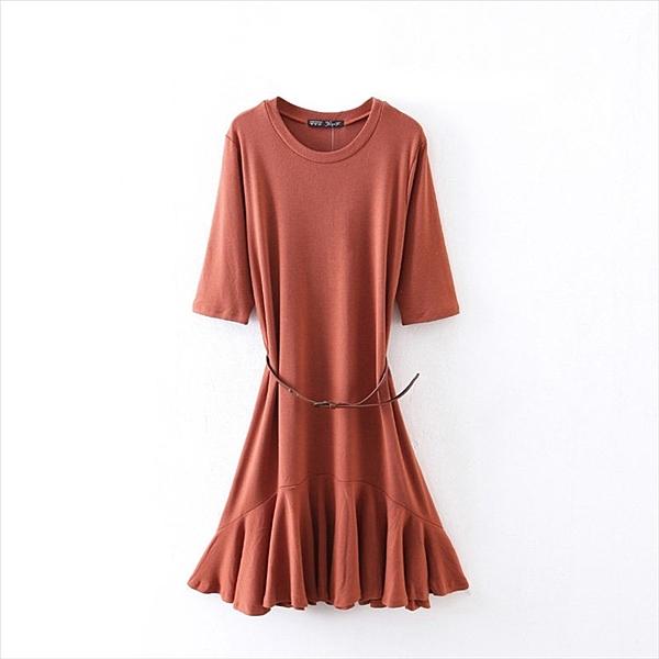 找到自己 G5 韓國時尚 連衣裙 百褶 荷葉邊 下擺 中長款