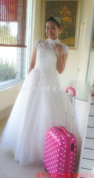 (45 Design )  訂製7天到貨 新款齊地 蕾絲 婚紗 韓版 一字肩 包肩 新娘 綁帶 顯瘦