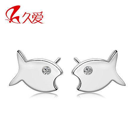 時尚魚形銀耳釘