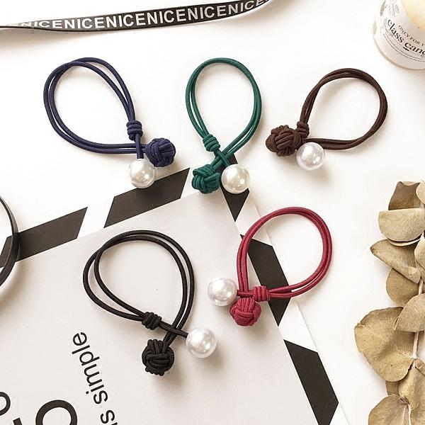 [協貿國際]簡約氣質珍珠打結髮繩頭繩髮圈扎頭髮皮筋頭飾品1入
