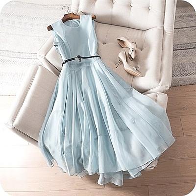 洋裝-無袖純色優雅網紗拼接連身裙2色73sz4[時尚巴黎]