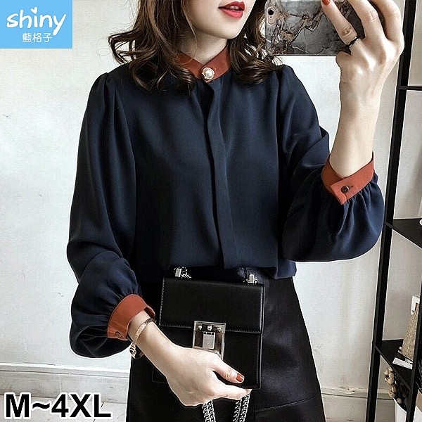 【V2502-1】shiny藍格子-瑕疵特賣.拼接色燈籠袖襯衫上衣
