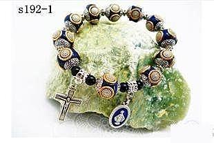 天主教飾品 時尚古珠一端苦相十字架男士手鏈