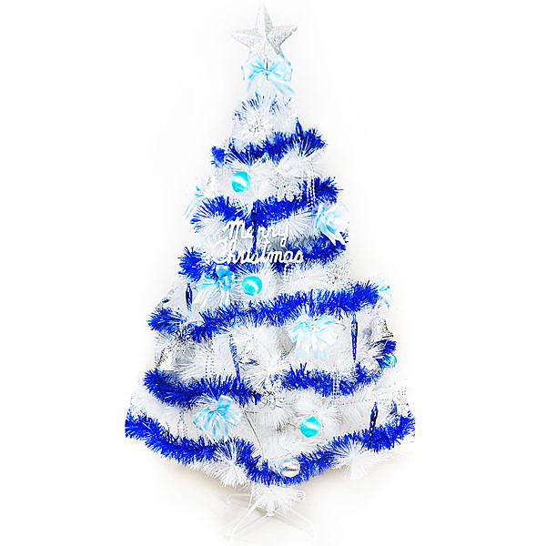 【摩達客】台灣製5尺(150cm)特級白色松針葉聖誕樹 (藍銀色系)(不含燈)