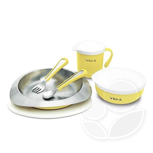 VIIDA Soufflé 抗菌不鏽鋼餐具組- 黃色【佳兒園婦幼館】