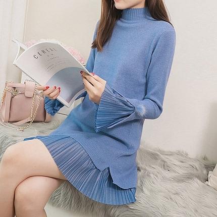 長袖洋裝 外套秋冬慵懶風寬鬆中長版女毛衣雪紡拼接半高領假兩件針織