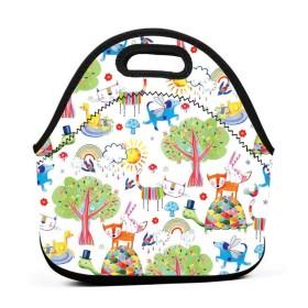 楽しい動物のランチバッグ、厚手の断熱ランチボックスバッグ、子供旅行ピクニックオフィスのジッパー閉鎖付きトートボックスを持って来てください