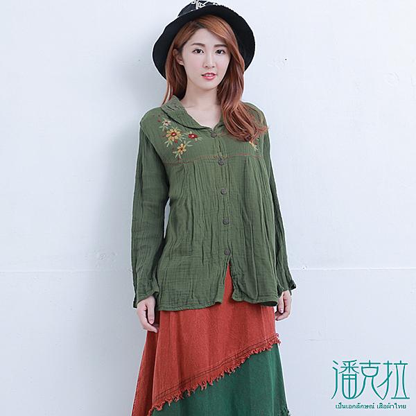 對稱繡花針織襯衫(綠色)-F【潘克拉】