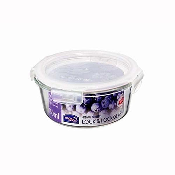 樂扣樂扣微波烤箱玻璃保鮮盒650ml圓型密封盒LLG831便當盒副食品保存盒-大廚師百貨