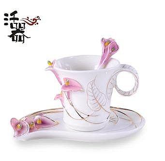 活器 七夕情侶禮物 馬蹄蓮 琺琅瓷咖啡杯