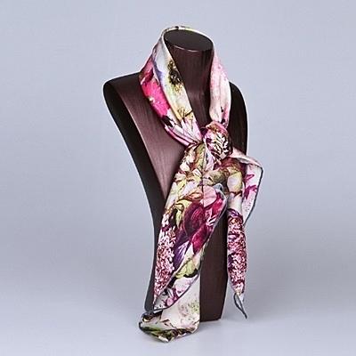 桑蠶絲圍巾-簡約大方花朵印花女絲巾4色73hx3【時尚巴黎】