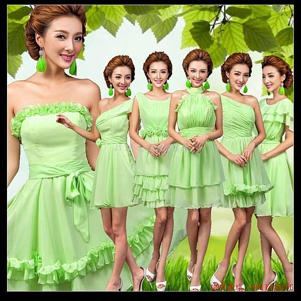 (45 Design) 訂做款式7天到貨   綠色時尚伴娘服伴娘團伴娘裝短款綁帶婚紗小禮服演出服