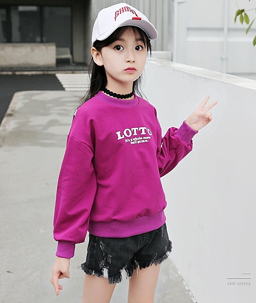 衣童趣♥韓版 新款 中大女童 休閒字母圓領 上衣 外出百搭款 運動風上衣