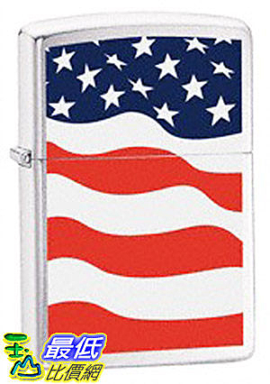 [美國直購 ShopUSA] Zippo Brushed Chrome American Flag Lighter 24375 $1046