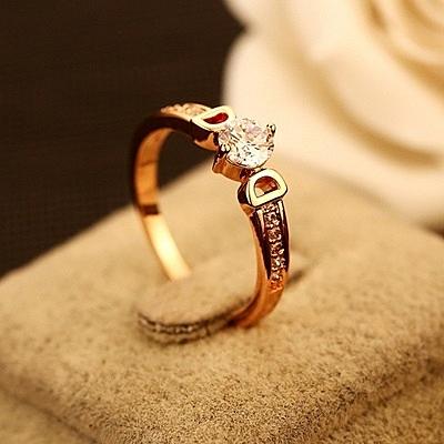 戒指 玫瑰金純銀 鑲鑽-唯美浪漫生日情人節禮物女飾品73by12【時尚巴黎】